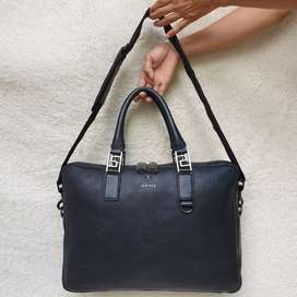 Gianni Versace briefcase hitam kulit asli tebal made in Italy