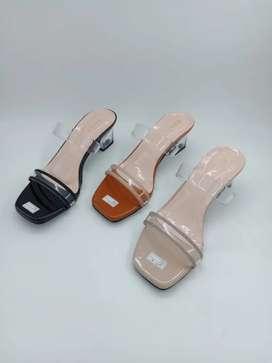sandal hak tahu kaca 5 cm, ban 2 kombinasi gel dan gliter