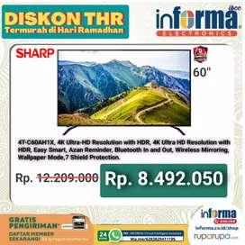 SHARP LED SMART TV 60 INCH 4K HANYA 8 JTan STOCK TERBATAS INFORMA IBCC