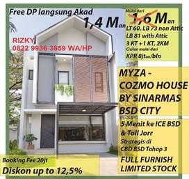 Myza - cozmo house bsd 6x10 full furnish by sinarmas land 3+1 kamar