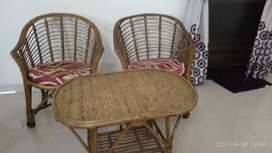 2 Chairs with cushions and table