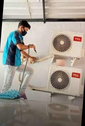 Cuci rutin, service AC bermasalh ,bongkar pasang AC , kulkas,pompa air
