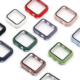 Glass+Case Full Cover For Apple Watch Case Series 6 SE 5 4 3 2 iWatch