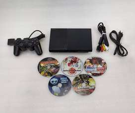 PS2 WITH 5 DVD COMPLETE WITH ALL NEW ACCESSRIES