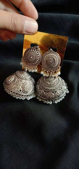 Silver Color Jhumka Earrings With White Pearls