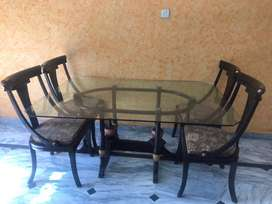 Glass Top 6 Seater Dinning Table For Sale
