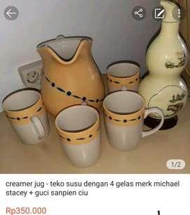 creamer jug - teko susu dengan 4 gelas michael stacey+guci sanpien ciu