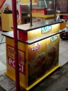 Meja konter jualan minuman dingin dan mesin press cup