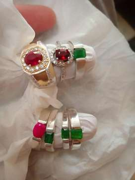 Emerald, ruby silver rings