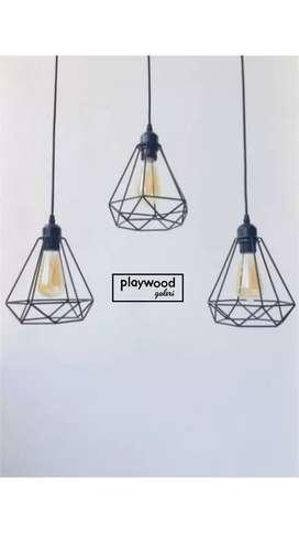 Lampu Gantung Industrial Asli Besi untuk Cafe atau Dekor Interior