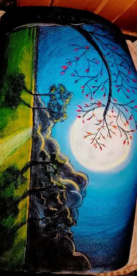 Moonlight on clouds and trees