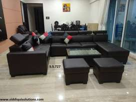 U Shape brand New Sofa set with center table and two puffys