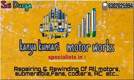 All submersible Motor works Repairing & Rewinding works ,ac works ,