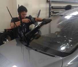 Kaca film mobil blok depan >3M Autofilm< (Boss audio mobil jogja)