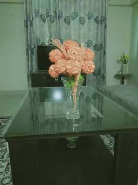 Glass vase with flower bunch