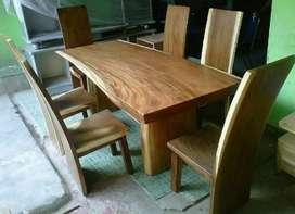 Meja makan kursi trembesi alami