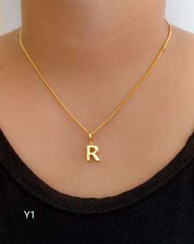 Kalung huruf bahan tembaga lapis emas