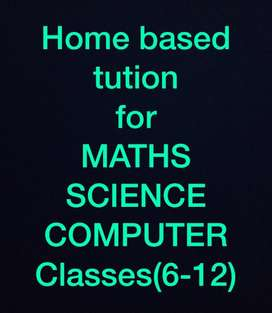 Home tution available for Maths Science and Computer for classes 6-12
