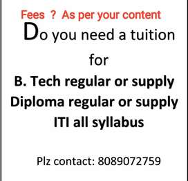 Do you need a tuition for B. Tech, Diploma, ITI