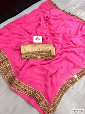 Embroidered with lace border regular sarees