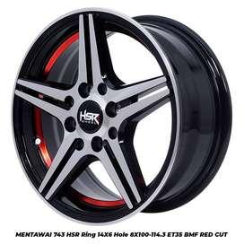 Velg Racing HSR Terbaru MENTAWAI Ring 14 Lebar 6 ET35 Bisa Buat Agya