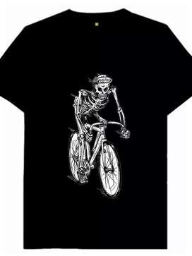 Kaos gambar tengkorak naik sepeda, 1 desain hanya untuk 1 pembeli