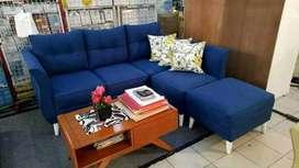 Sofa L sudut santai ruang tamu + meja