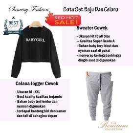 AM00333 Celana Setelan Satu set Sweater cewek dan celana joger