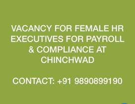 Female HR Executive required for Payroll & Compliance at Chinchwad