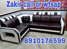 Black and white leather L corner Sofa set with warranty