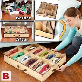 Amazing Shoes Rack 12 Shoes Under Bed Storage