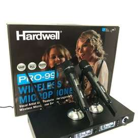 Mic Wireless TERBAIK Hardwell PRO 99 BESI Ganti frekuensi 4 Antena