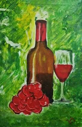 Orignal Hand Painted Wine Bottel & Red Grapes Painting