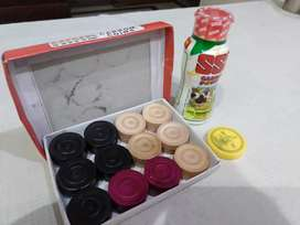 New Wooden carrom coins, striker and power