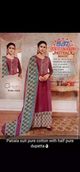 Patiala suit pure cotton with half pure duppta