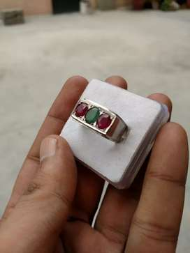 Real Ruby & Emerald Ring Pure Silver