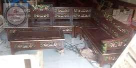 kursi tamu sudut L mahoni/kayu bakar real pick kota palembang