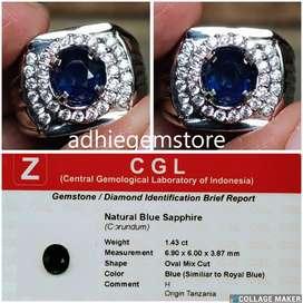 Promo Batu cincin natural asli similiar blue sapphire H Tanzani 1.43ct
