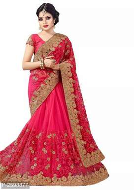 Pink Net Embroidered Saree We will send by courier only