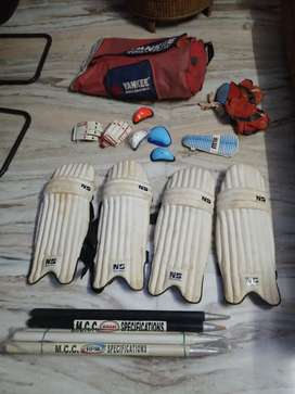 Full Cricket kit set pads, gloves, bat, guards, Wickets,NOT NEGOTIABLE