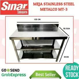 MEJA STAINLESS DAPUR METALCO MT-3 STEEL PART KNOCKDOWN PORTABLE