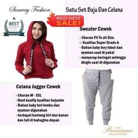 AM00292 Celana Setelan Satu set Sweater cewek dan celana joger