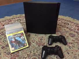 PS3 Slim Jailbroken For Sale With 2 Controllers