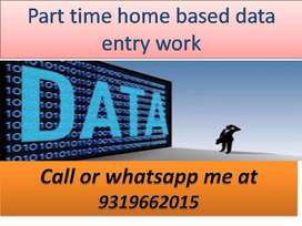 Requirement for data entry operator ,part time job of data entry