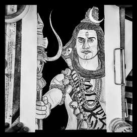 Lord Shiva Sketch with Black Background