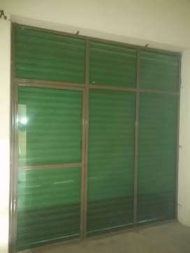 Shop front glass and wood partition