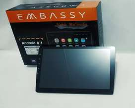 HU Android Embassy 8.1 ios Layar 10 inch Full Glass Cavasitive Layar