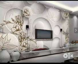 3D/HD Customized Wallpaper Rs65sq ft with installation Washable