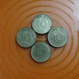 Koin 10 pfennig Deutsh thn 1994 & 1990