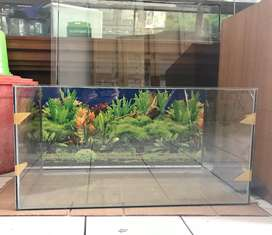 Jual aquarium 80x40x40 + background